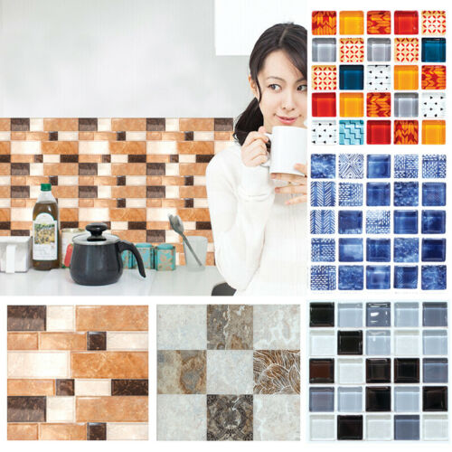 6Pcs 3D Self Adhesive Mosaic Tile Sticker Kitchen Bathroom Wall Stickers Decor