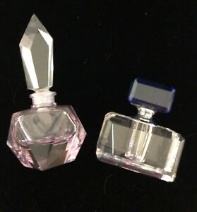 Vintage-Perfume-Bottles-with-Stopper-2-Crystal-Cut-Art-Deco-Style