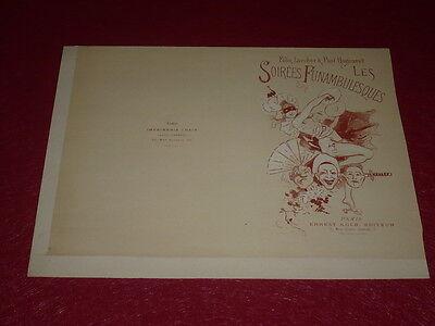Lithografie Originell druck. Chaix Abende Funambulesques 1890 Dedicated Jules Cheret