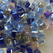 100pcs Square / Cube Glass Beads Assorted Colour 6mm x 6mm For Any Crafts Making