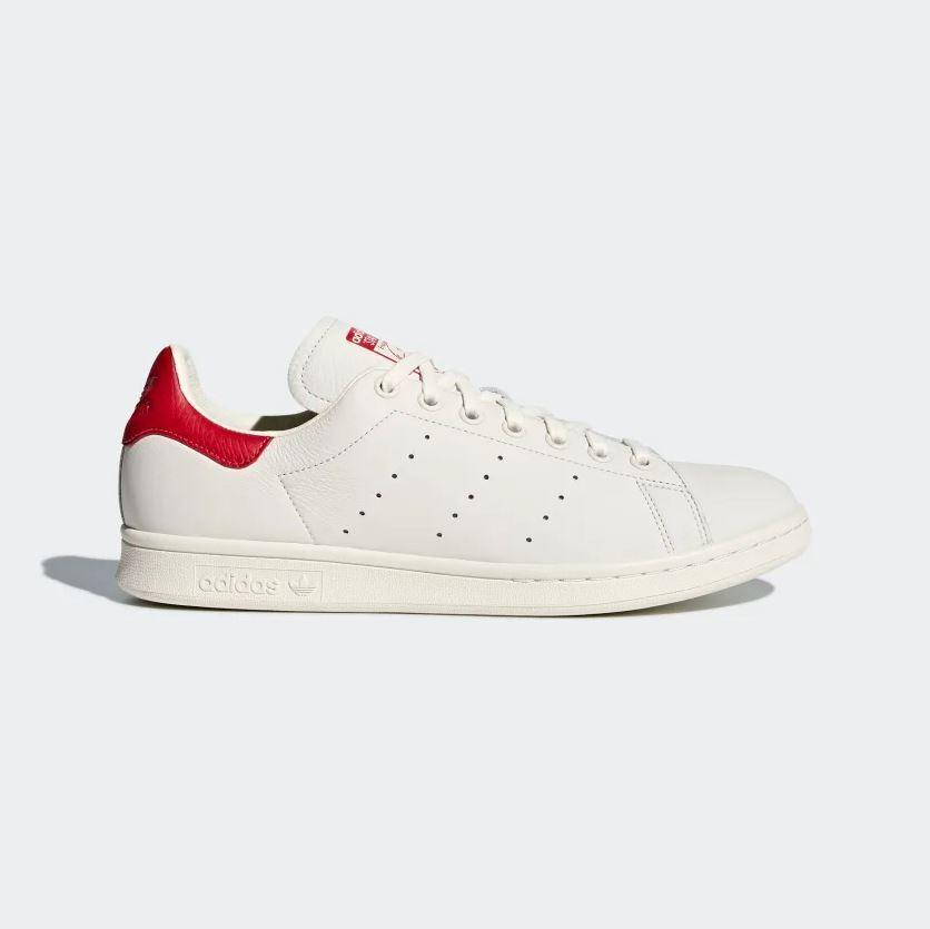 Adidas Men's Originals - STAN SMITH - Leather shoes - White   Scarlet [B37898]