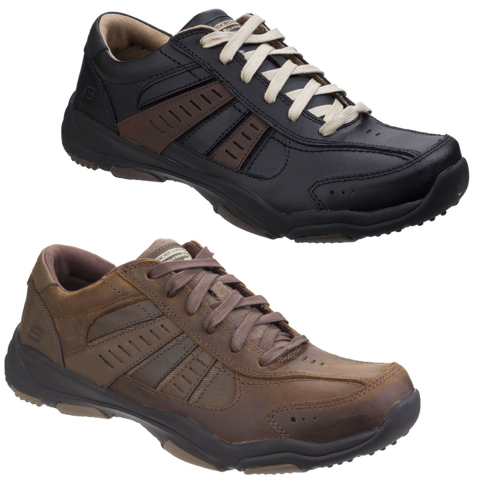 Skechers Larson Nerick Trainers Mens Casual Leather Memory Foam Lace Up shoes
