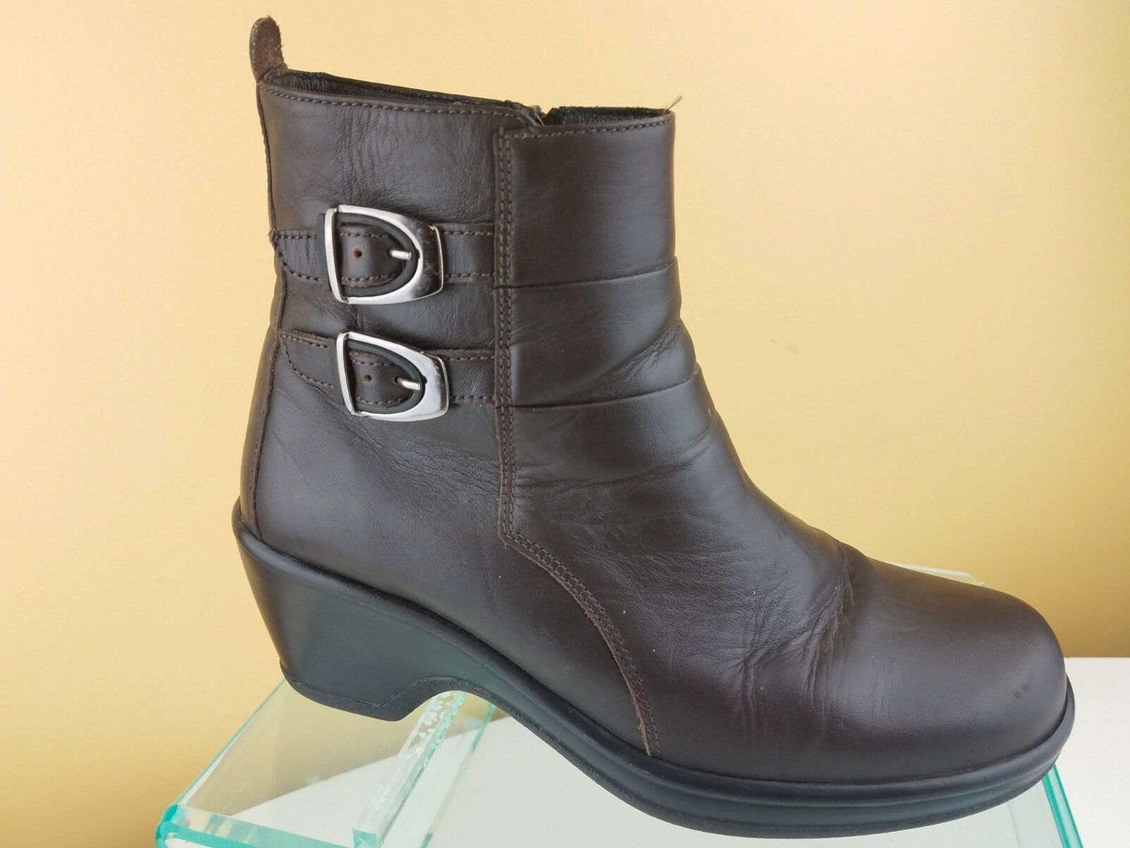 DANSKO Brown Leather Zip Up Double Strap W  Buckle Ankle Dress Boots Womens 7