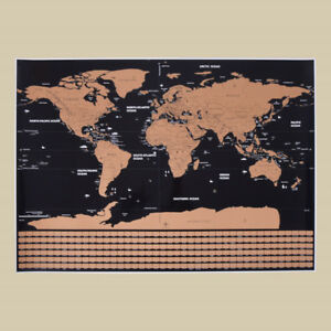 Black deluxe scratch map travel scratch off world map gift for image is loading black deluxe scratch map travel scratch off world gumiabroncs Images