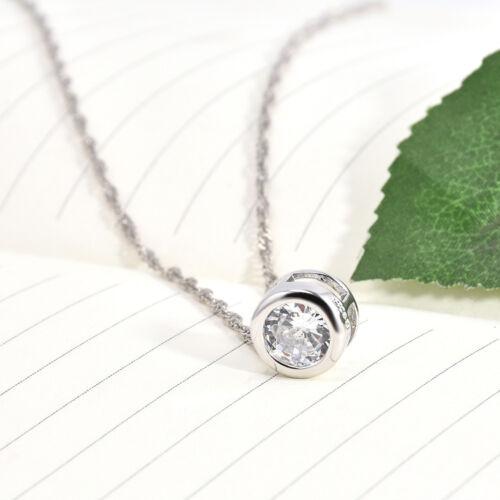 Fashion Womens Round Single Crystal Rhinestone Silver Pendant Necklace Jewelry