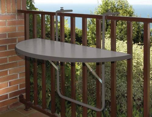 Table de balcon//table suspendue demi-ronde 100x50cm plastique//acier anthraz.