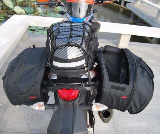 1Pair Big Capacity 36-58L Motorcycle Side Pannier Bag Waterproof With Rain Cover