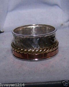 Ross simons brass copper spinner wide band sterling silver for Ross simons jewelry store