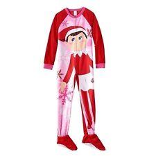 Girl's ELF ON THE SHELF Sz 10 FOOTED PAJAMAS Blanket Sleeper Pjs HOLIDAY  ~ NWT