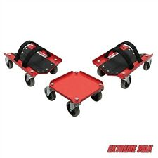 Extreme Max V-Slides Snowmobile Dolly System - Red Steel (3pc set)