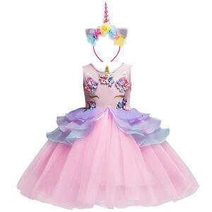 df489803866b Image is loading Flower-Girl-Unicorn-Dress-Tutu-Princess-Cosplay-Costumes-
