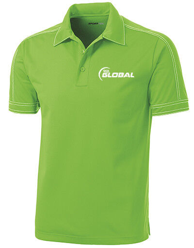 900 Global Men's Boo-Yah  Performance Polo Bowling Shirt Dri-Fit Lime Green