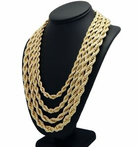 Rope Chain Necklace 14k Gold Finish 7mm to 10mm RUN DMC Hip Hop  8f9705ea4329