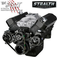 Black Chevy Big Block Serpentine Conversion Kit - Power Steering, Long Wp