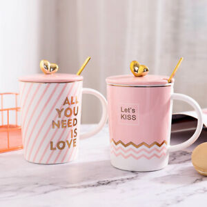 Details About Pink Life Cute Ceramic Mug With Lid Spoon Milk Coffee S Cups