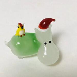 Vintage-Miniature-Hippo-Santa-Hat-Murano-Figure-Figurine-Art-Glass-Sculpture