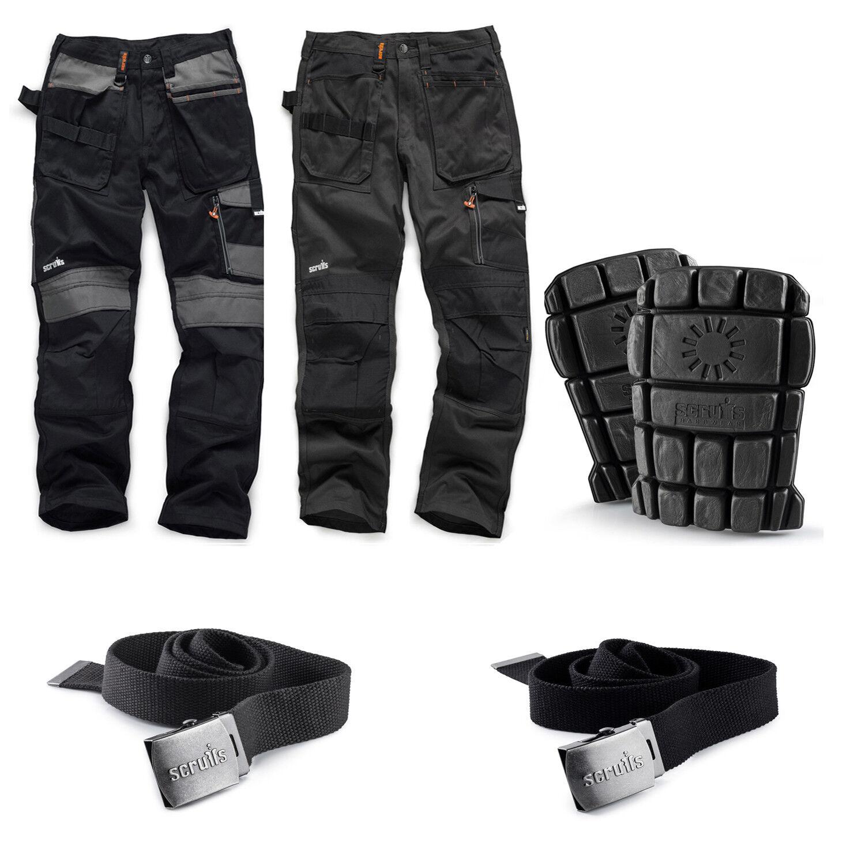 Scruffs 3D Trade Work Trousers, Knee Pads, Clip Belts Men's Trade Hardwearing