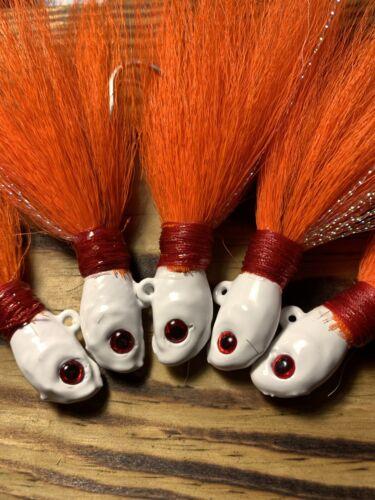 Cobia Fluke 1 oz Orange//white Bucktail Jig Grouper 5 Pk Stripers