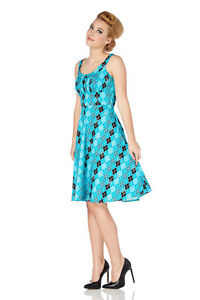 Women-039-s-Harlequin-Diamond-Pattern-50-039-s-Vintage-Rockabilly-Flared-Swing-Dress