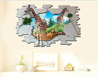 3d Wandtattoo Giraffen Afrika Tiere Kinderzimmer Wandsticker Wanddurchbruch Loch