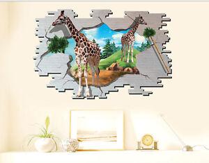 3d Wandtattoo Giraffen Afrika Tiere Kinderzimmer Wandsticker