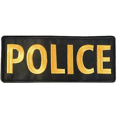 POLICE large XL 10x4 inch embroidered badge SWAT vest tag fastener patch