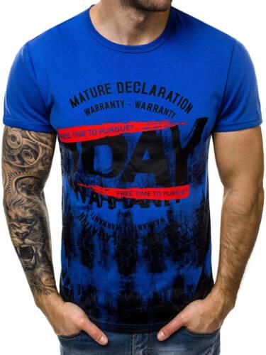 T-Shirt Kurzarm Shirt Aufdruck U-Neck Slim Fit Fitness Herren OZONEE 9346 MIX