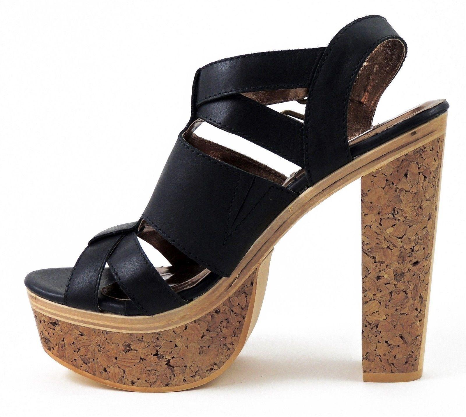 Cynthia Vincent Women's Women's Women's Petra Platform Sandals Black Leather Size 8 (B, M) 20bf84