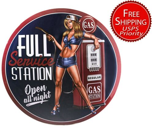 Full Service Station Open All Night Dome Tin Sign Reproduction 16, Pin-up Girl