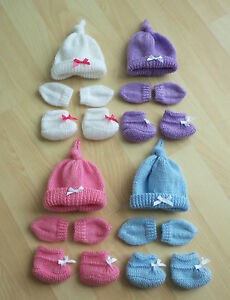 Brand New BABY ANNABELL/BABY BORN Hat, Mittens and Boottees Set
