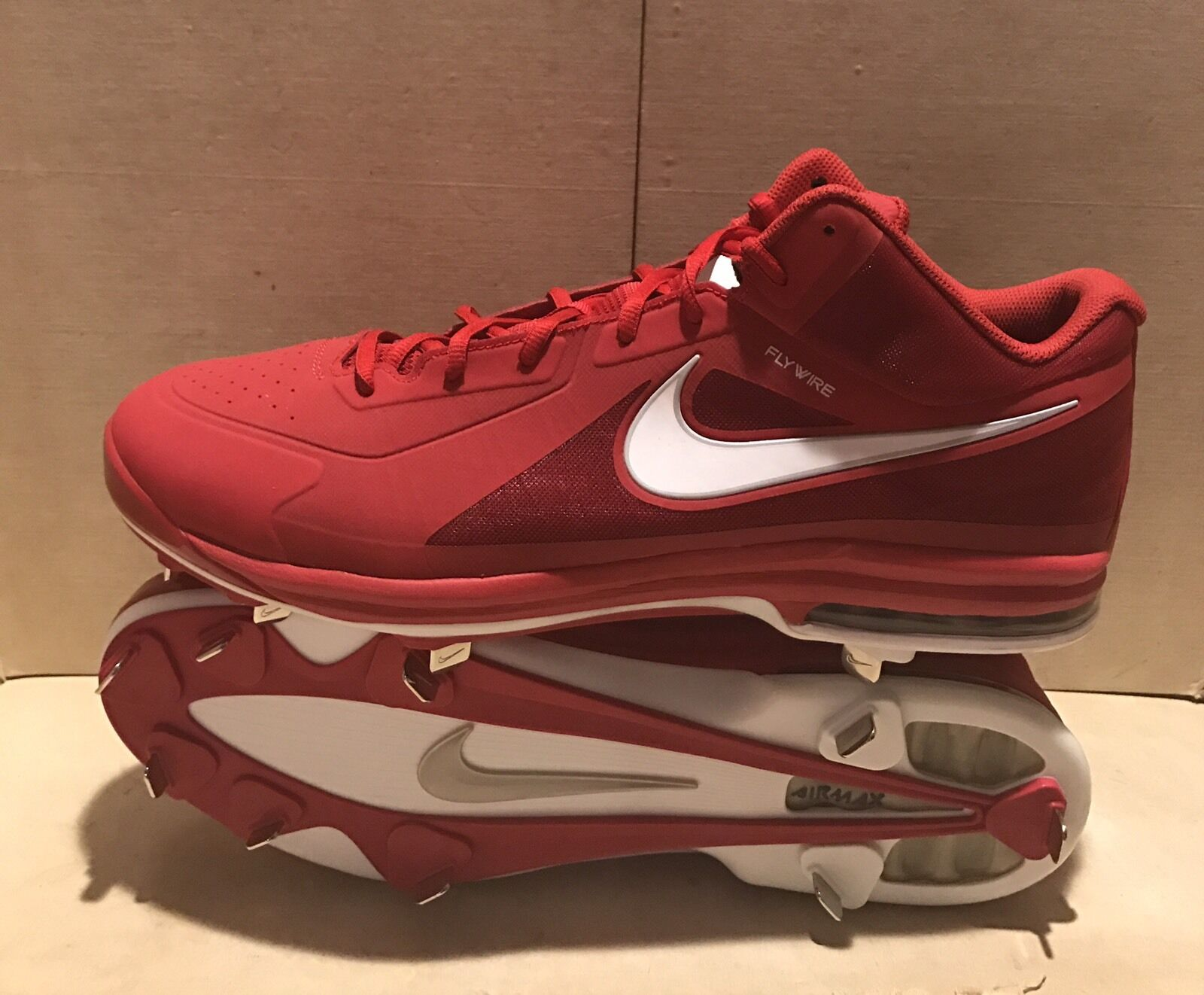 New Cleats NIKE AIR MAX MVP ELITE Mid Metal Baseball Cleats New Mens 16 Red 524957-610 c9fe29