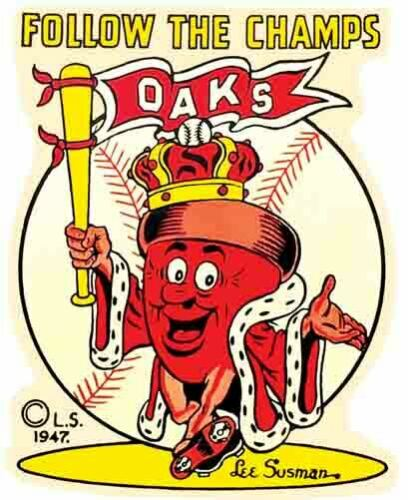 Oakland Oaks Pro Baseball Team 1940/'s Vintage Looking Travel Sticker Decal Label