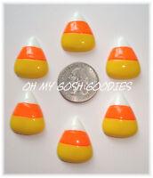 6pc Halloween Yellow Orange White Candy Corn 3 Resin Flat Back Flatback