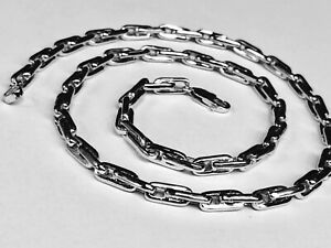 46e307173853e Details about 18KT Solid White Gold Handmade Rolo Link Men's Chain/Necklace  20