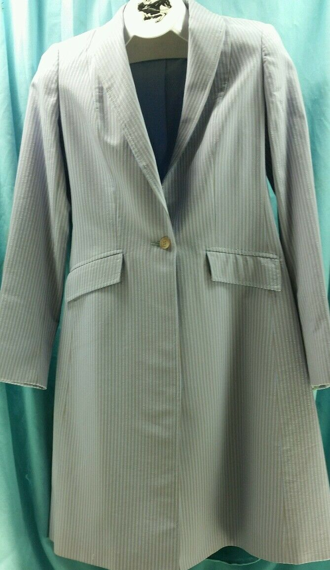 Reed Hill Ladies Day Coat Light blu Stripe polyester 10   Made in USA