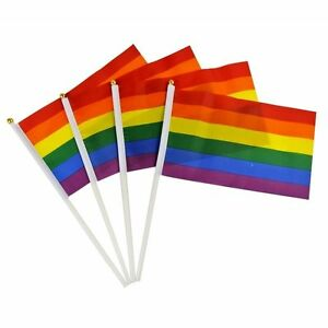 5pcs Rainbow Flag Gay Pride Lesbian 7.48 x 5.51 Flags With Grommets Hot