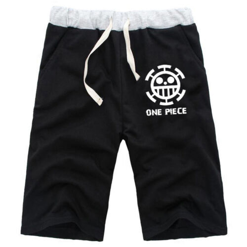 Anime One Piece Law Cotton Casual Short Pants Black Shorts Trousers Size S-XXL