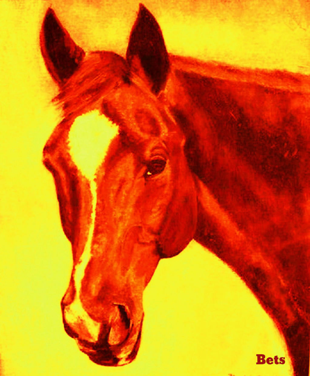 HORSE PRINT Giclee CHESTNUT Horse MADURO artist  BETS 6 COLORS print size 15 X 18  high quality & fast shipping