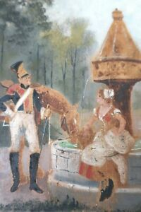 ANTIQUE FRENCH SOLDIER OIL PAINTING VICTORIAN COUNTRY FOLK ART HORSE PRIMITIVE