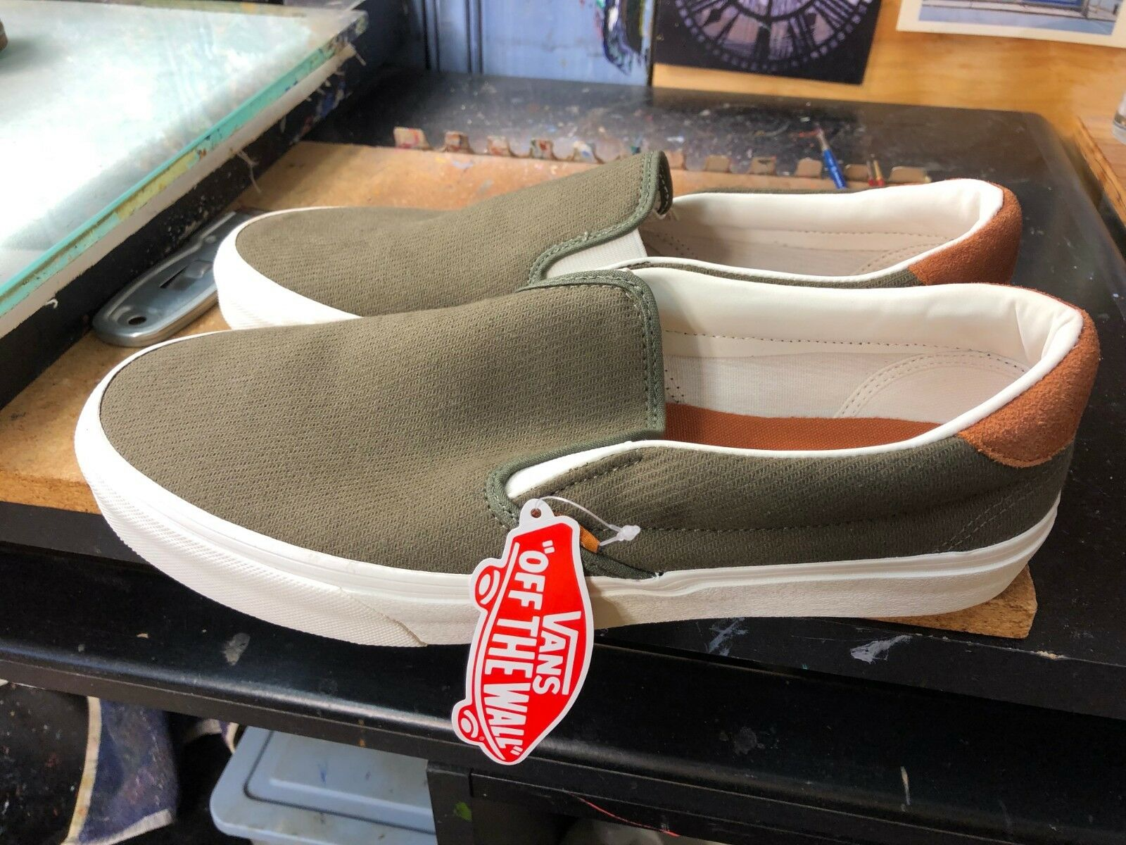 Vans Slip-On 59 (Flannel) Dusty Olive Size US 11 Men's VN0A38GUU4N