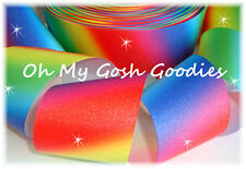 """3"""" GLITTER RAINBOW OMBRE BLING GROSGRAIN RIBBON TIC TOC CHEER 4 HAIRBOW BOW"""