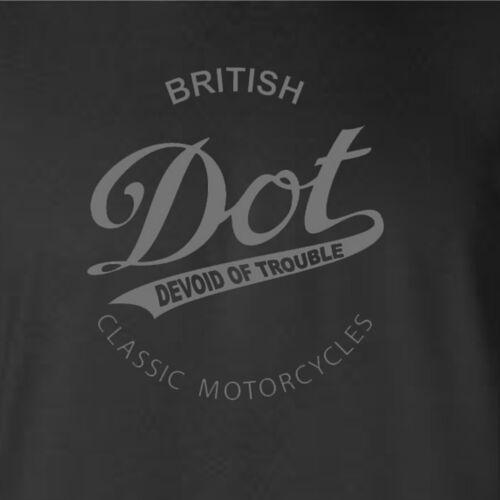 Classique-Moto-Motard-logo gris-T-Shirt Noir Dot-MOTOS-Hommage-British