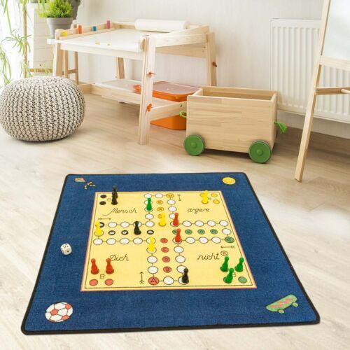 Kinder- und Spielteppich Flachflor von Schmidt - Mensch Ärgere Dich Nicht Blau