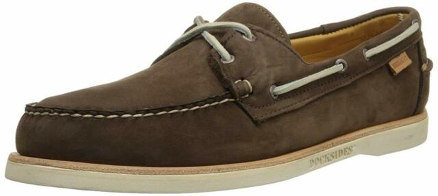Sebago Crest Docksides Men's Dark Brown Nubuck Boat Shoes