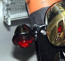 DIMPLED OLD BULLET TURN SIGNAL LIGHTS BLACK & RED LENS 1FIL HARLEY BOBBER 1-PAIR