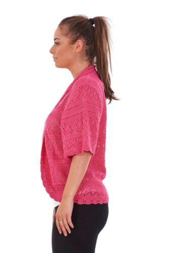NUOVO Donna Diamante Crochet Maglia alzate di spalle Boleros TOP PLUS SIZE 16 A 32