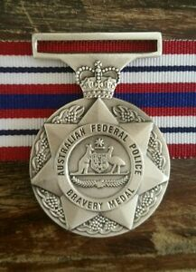 Australian Federal Police Bravery Medal (Replica) Unmounted + 250mm ribbon