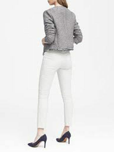 Banana Tweed Nwt 2 Cropped Republic Taille Femme Veste Frange Ivoire Bleu 5Taq5ZW