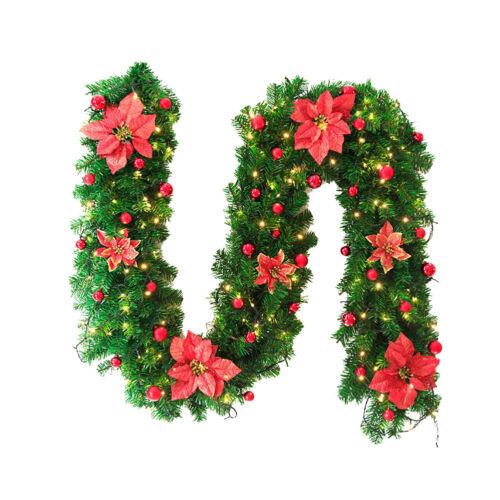 2.7M Weihnachtsgirlande LED Künstlich Tannengirlande Weihnachten Deko Wand DE