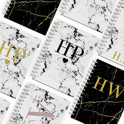 PERSONALISED HARDBACK NOTEBOOK A5 NOTEPAD PADS BOOKS MONOGRAMMED INITIALS MARBLE